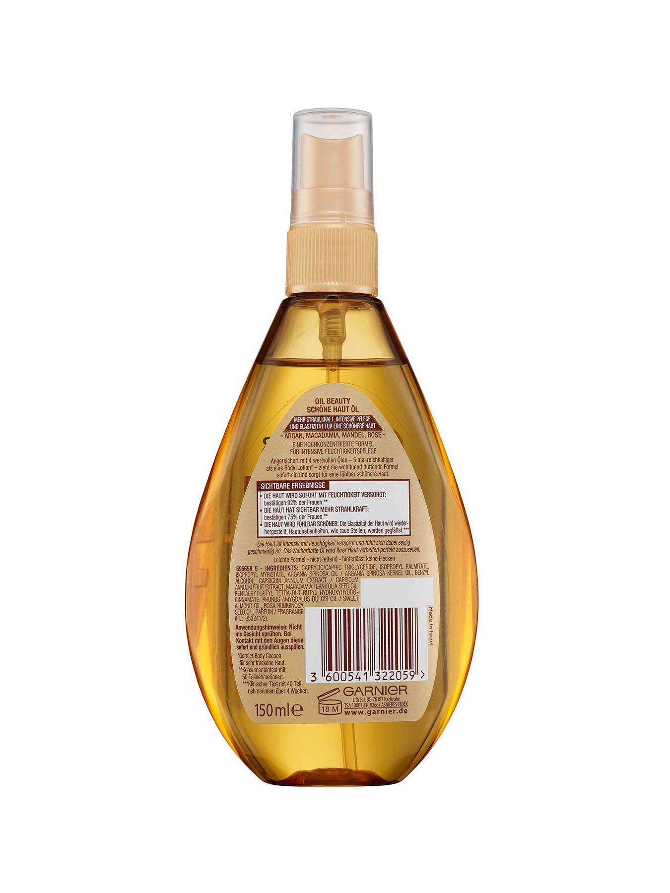 Schoene-Haut-Oel-Body-Oil-Beauty-150ml-Rueckseite-Garnier-Deutschland-gr