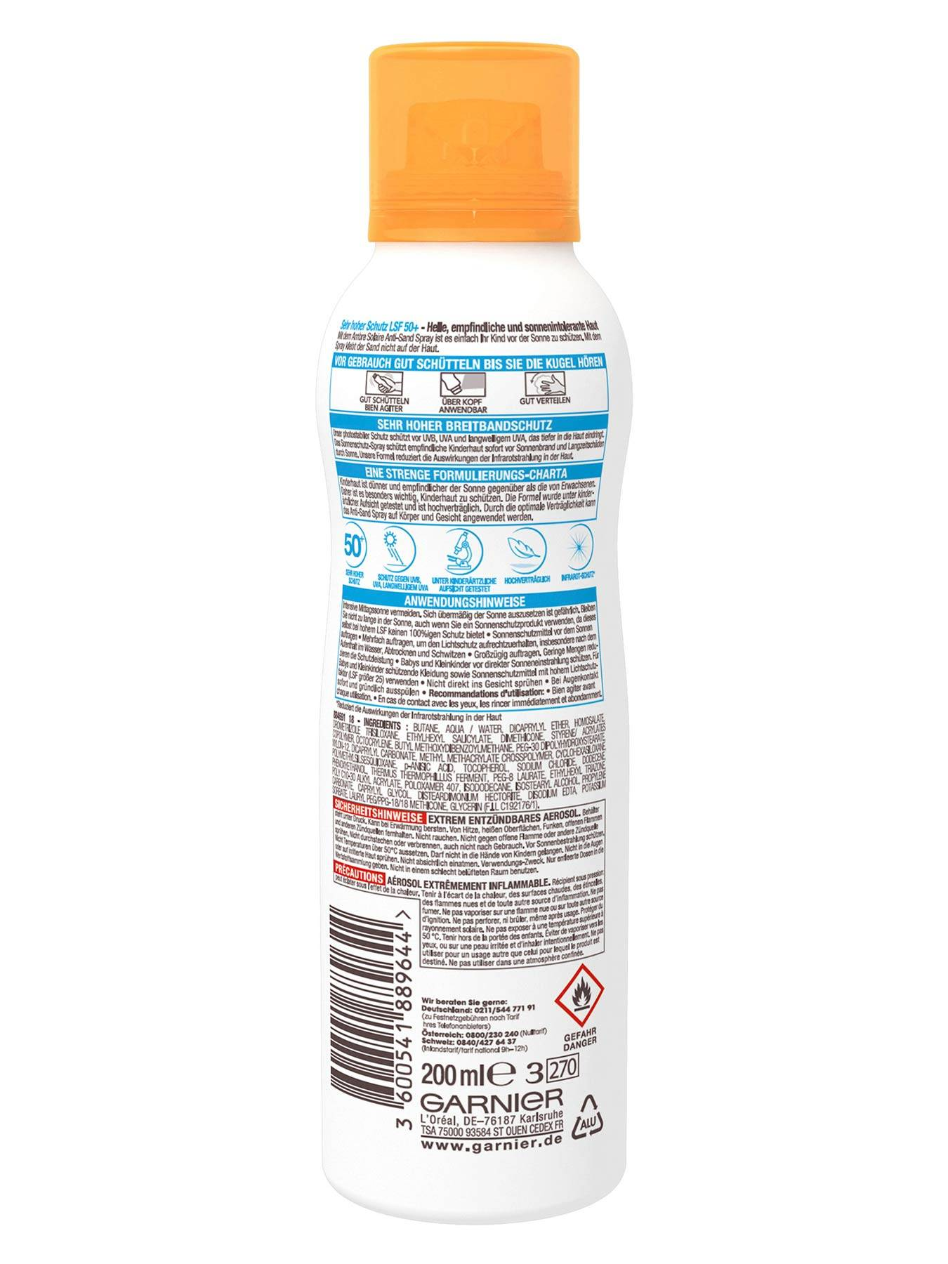 Anti-Sand-Spray-LSF-50-Ambre-Solaire-Kids-Sensitiv-Expert-Plus-200ml-Rueckseite-Garnier-Deutschl-gr