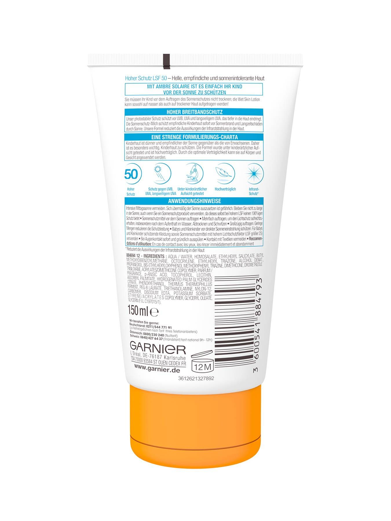 Wet-Skin-Lotion-LSF-50-Ambre-Solaire-Kids-Sensitiv-Expert-Plus-150ml-Rueckseite-Garnier-Deutschl-gr